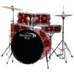 Percussion Plus 5-Piece Drum Set, Brushed Red #PP4100BRD